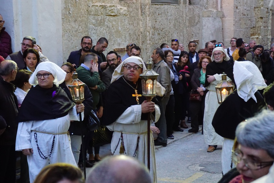 People dressed up during Good Friday Procession in Valletta