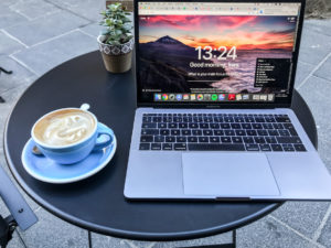 Cafes for remote work in Malta coffee and Laptop