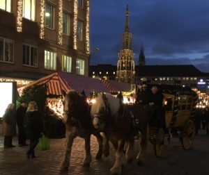 Carriage ride In nuremberg Christmas market