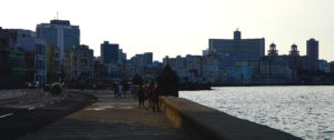 Havana in December view on The Malecon